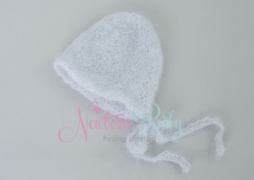 Plain Mohair Bonnet ~ Pale silver grey